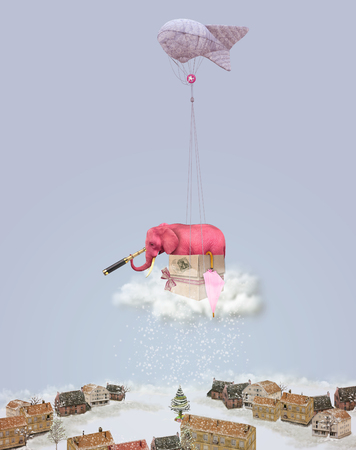 Elephant on a cloud with a telescope. Winter landscape. Christmas illustration