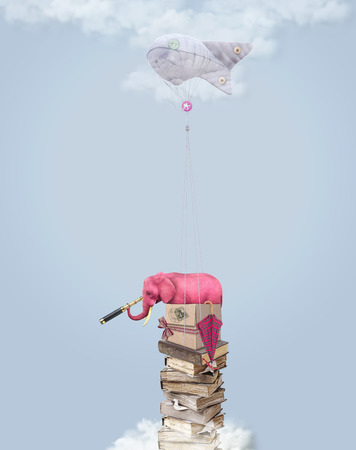pink elephant: Pink elephant in the sky with books. Illustration for a card or book cover or magazine. Computer graphics. Stock Photo
