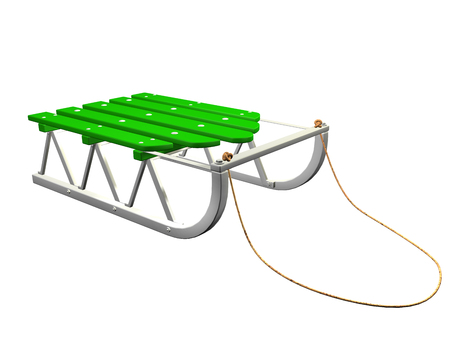 Green 3D sled on white background. Illustration