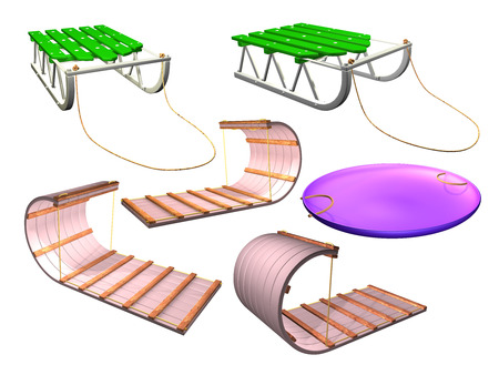 3D sled on white background. Illustration Stock Photo