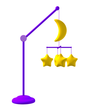 3D illustration of Baby crib hanging mobile toy - yellow moon and stars