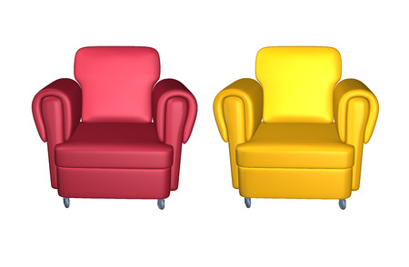 view of an elegant red couch: Leather red and yellow armchairs isolated on white background. Front view