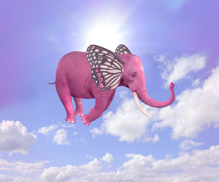 Elephant-butterfly flying in the sky. Illustration