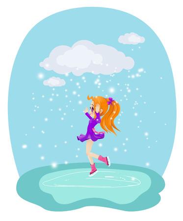 Happy girl skating on ice. Illustration