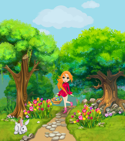 Happy girl carries a basket with Easter eggs through a forest with tulips. Illustration for children