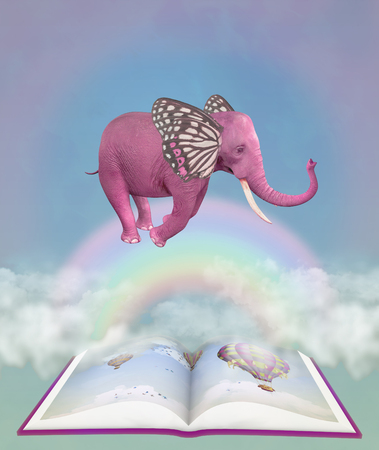 Pink elephant and fantasy book in the sky. Illustration Stock Photo