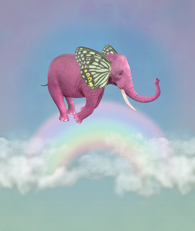 Pink elephant in the sky. Illustration