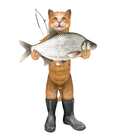 Cat - fisher in boots holds a huge fish. 3D illustration. Stock Photo