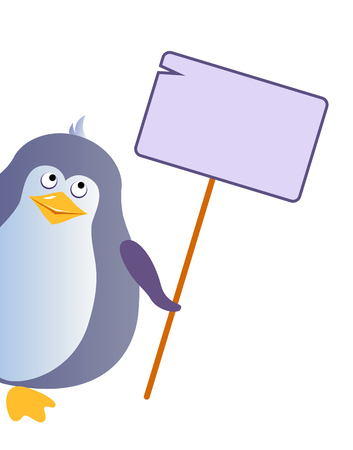 Penguin holds an empty tablet with a place for your design. Vector illustration