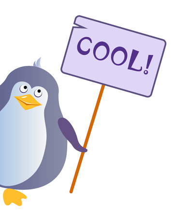 Penguin holding a sign with an inscription COOL. Illustration