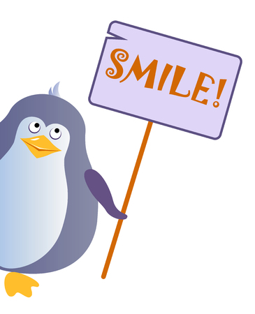 Penguin holding a sign with an inscription SMILE. Illustration