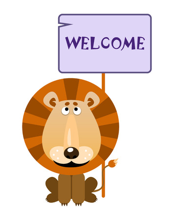 Lion holds a sign with an inscription WELCOME. Vector illustration