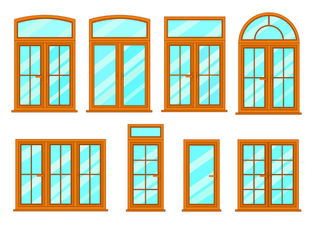 casement: Vector collection of various modern windows types.