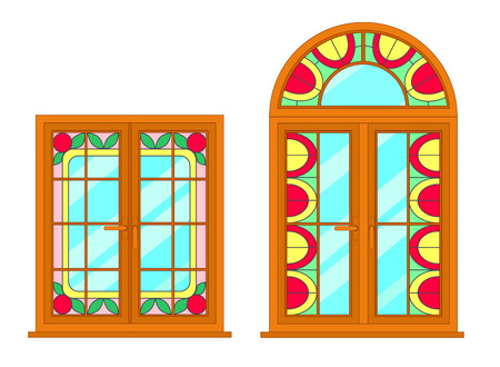 casement: Vector modern windows with stained glass motif. For interior and exterior use. Flat style. Illustration