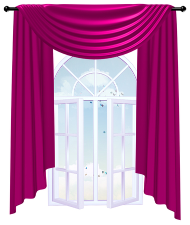 velure: Open window behind a burgundy curtain with sky and clouds. 3D image