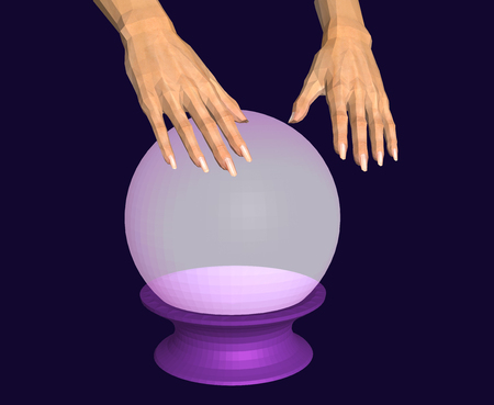 Hands over a glowing crystal ball. Faceted 3D image Stock Photo