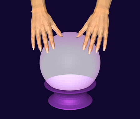Hands over a glowing crystal ball on dark background. Faceted 3D image