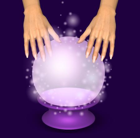 빛나는 크리스탈 공 위에 손을. 3D 그림입니다. 스톡 콘텐츠