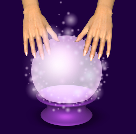 Hands over a glowing crystal ball. 3D illustration.
