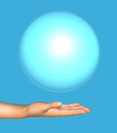 Human hand holds a blue ball. 3D illustration