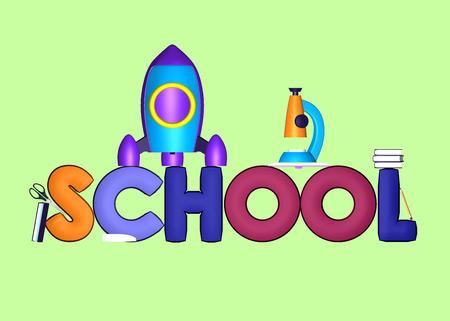 escuela infantil: School design over lime green background. 3D illustration.