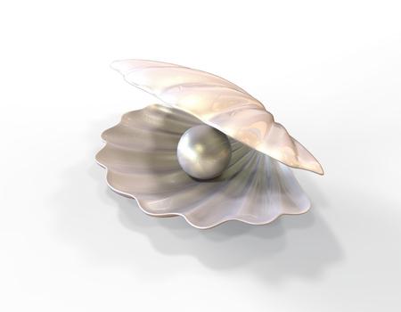 Pearl inside seashell. 3d illustration isolated on white background Banco de Imagens