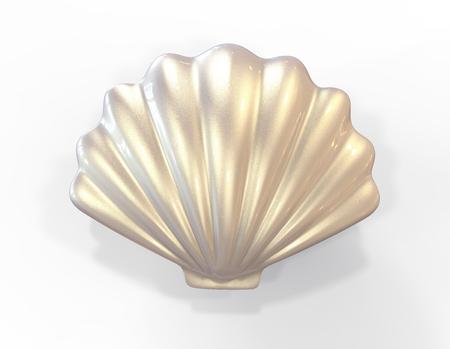Seashell. 3d illustration isolated on white background Banco de Imagens