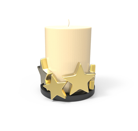 Decorative candle. 3D image on white background