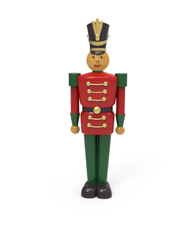 Kerstmis vintage houten soldaat speelgoed. 3D-afbeelding op een witte achtergrond Stockfoto