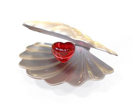 Red glass heart inside seashell. 3d illustration isolated on white background Stock Photo