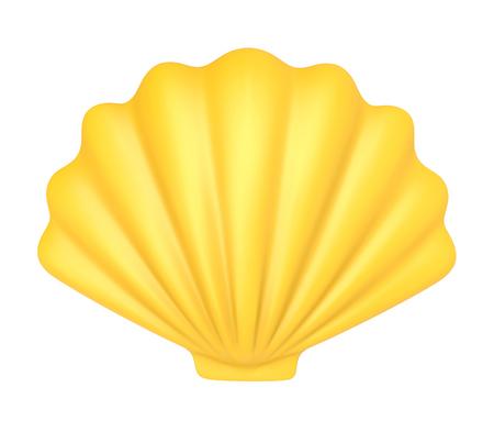 黄色の貝殻。白い背景で隔離の 3 d 図 写真素材