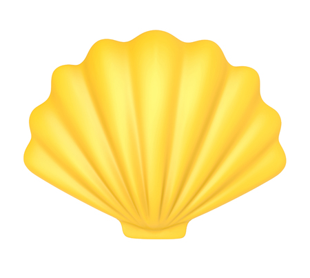 노란색 조개입니다. 흰색 배경에 고립 된 3d 그림 스톡 콘텐츠