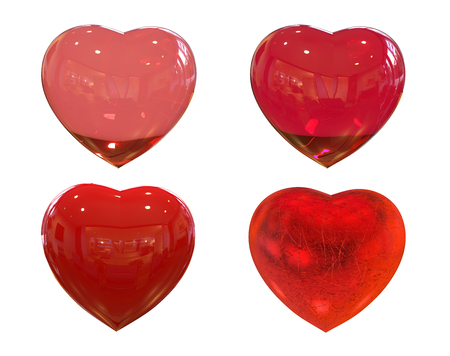 3D big red hearts with different materials. Isolated On White Background