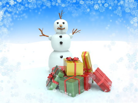 Snowman with gift boxes. 3D Christmas illustration