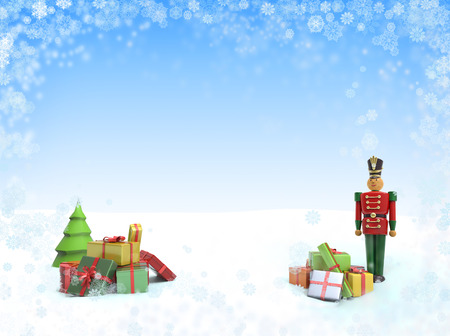 Christmas background with wooden soldier toy and gifts. 3D Illustration for greeting card or flyer with place for your text