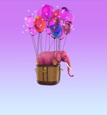 Pink elephant in the sky with balloons. 3d illustration for a card or book cover or magazine. Computer graphics. Foto de archivo