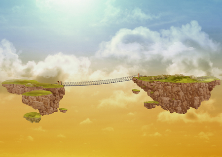 Two flying islands in the sky, connected by a bridge. Illustration symbolizing a connection, overcoming obstacles Foto de archivo