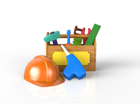 Childrens play toolkit with work tools isolated on white. 3d image Stockfoto