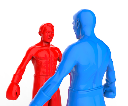 Two figures of athletes standing opposite each other in boxing gloves. A metaphorical 3d illustration.