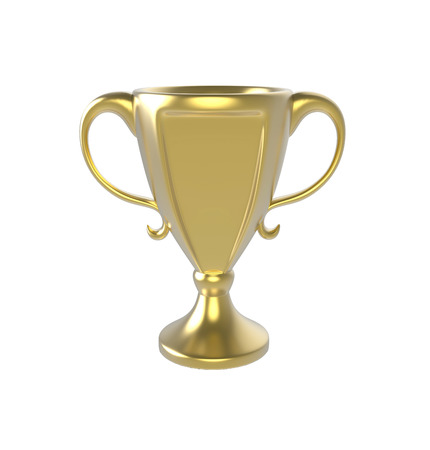 Golden cup trophy. 3D image isolated on white background