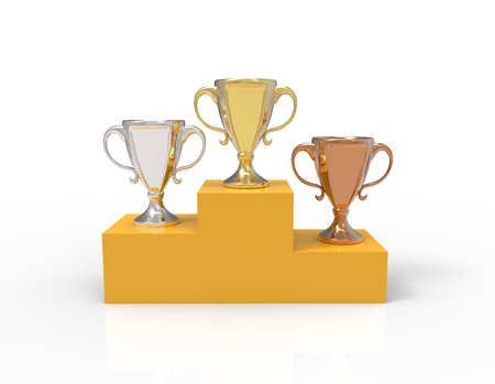 Three cup trophies - gold, silver and bronze on the base. 3D image isolated on white background Stock Photo