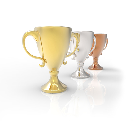 Three cup trophies, gold, silver and bronze. 3D image isolated on white background 스톡 콘텐츠