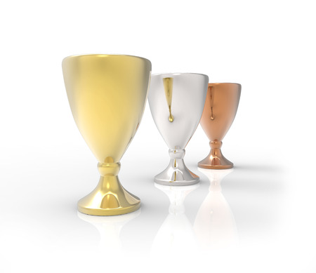 Three cup trophies, gold, silver and bronze.3D image isolated on white background 版權商用圖片
