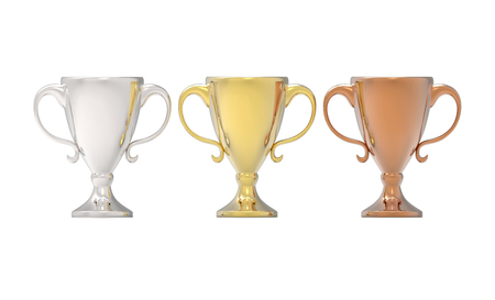 Three cup trophies, gold, silver and bronze. 3D image isolated on white background Stock Photo