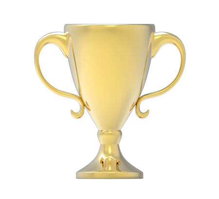 Golden trophy. 3D image isolated on white background 版權商用圖片