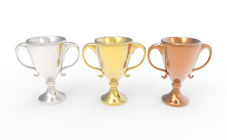 Three cup trophies, gold, silver and bronze. 3D image isolated on white background 版權商用圖片