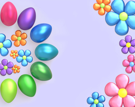 Easter background with Easter eggs and spring flowers. Top view with copy space. 3D render 版權商用圖片