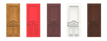 Set of various wooden doors. 3d illustration isolated on white background 版權商用圖片
