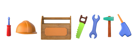 Childrens toys - work tools isolated on white. 3d image