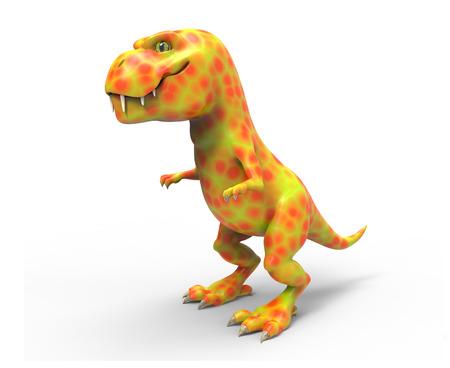 A large orange dinosaur TIREX. 3D illustration on white background